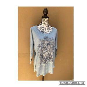 Womens 3/4 Sleeve Scoop Neck Graphic Tee Shirt